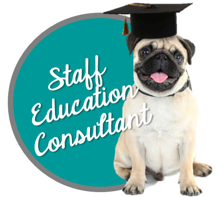 Staff Education Consultant Button - Carrie Pawpins Cat and Dog Trainer, Pet Sitter, Pet Nutrition Counselor, Staff Education Consultations